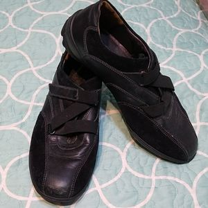 Mephisto Black Leather Athletic Shoes Velcro 7
